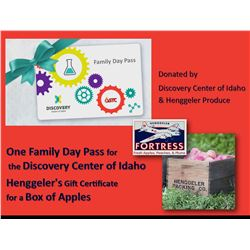 One Family Day Pass for the Discovery Center of Idaho and a Henggeler's Certificate for a Gift Box o