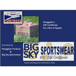 Big Sky $50 Certificate and a Henggeler's Certificate for a Gift Box of Apples
