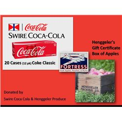 20 Cases (12 pk) Coke Classic and a Henggeler's Certificate for a Gift Box of Apples