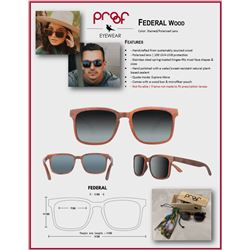 Federal Wood, Stained, Polarized Lens
