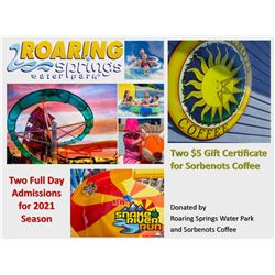 Two Roaring Springs Full Day Admissions for 2021 Season and Two $5 Gift Certificate for Sorbenots Co