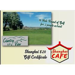 18 Hole Round of Golf for 2 people w/cart Country View Certificate & Shanghai $20 Gift Certificate