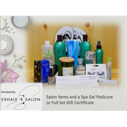 Salon Items and a Spa Gel Pedicure or Full Set Gift Certificate