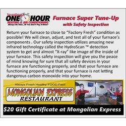 Furnace Super Tune-Up with Safety Inspection Certificate and Mongolian Express $20 Gift Certificate