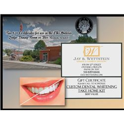 Custom Dental Whitening Take Home Kit Certificate and Two $20 Certificates for use in the Elks Ontar