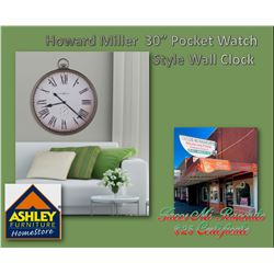 """This 30"""" classic pocket watch style wall clock is finished in antique nickel. The dial sports a dist"""