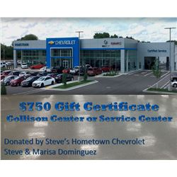 $750 Gift Certificate for Collison Center or Service Center