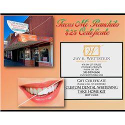 Custom Dental Whitening Take Home Kit Certificate and Tacos Mi Ranchito $25 Certificate