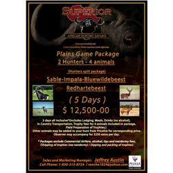 African Hunt 2 Hunters, 4 Animals, 5 days