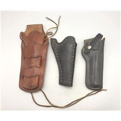 Group of 3 Vintage Leather Holsters Used As Movie Props