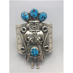 Turquoise and Sterling Silver Kachina Themed Bracelet