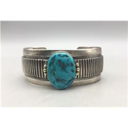Turquoise, Sterling Silver and Gold Bracelet