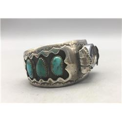 Vintage Turquoise and Sterling Silver Watch Bracelet