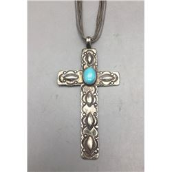 Vintage Turquoise and Sterling Silver Cross Pendant