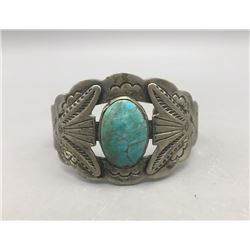 Fred Harvey Era Sterling Silver and Turquoise Bracelet