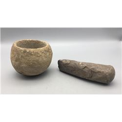 Old Stone Grinding Bowl and Pestle