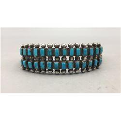 Fred Harvey Era 2 Row Turquoise Cuff Bracelet