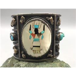 Vintage Inlay and Turquoise Cuff Bracelet