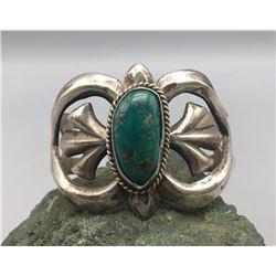Vintage Turquoise and Sterling Silver Sand Cast Bracelet
