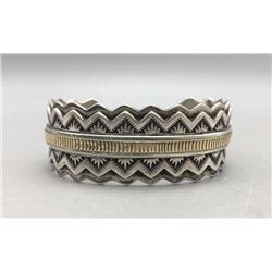 Sterling Silver and 14k Cuff Bracelet