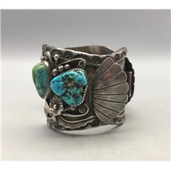 Vintage Turquoise and Sterling Silver Watch Cuff