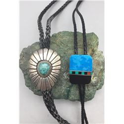 2 Bolos - 1Inlay and 1 Turquoise and Sterling Silver