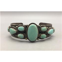 9 Stone Turquoise and Sterling Silver Bracelet
