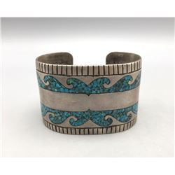 Vintage Turquoise Chip Inlay Bracelet