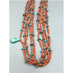 5 Strand Coral Turquoise, and Heishi Necklace