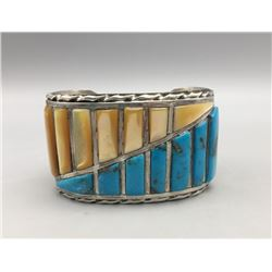 Turquoise and Shell Channel Inlay Bracelet