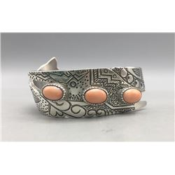 Sterling Silver and Peach Coral Bracelet