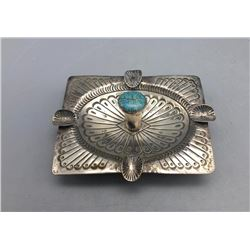 Vintage Sterling Silver and Turquoise Ash Tray