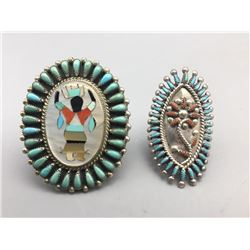 2 Zuni Rings with Needle Point Work