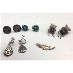Group of 4 Pairs of Screw Back Earrings and Thunder Bird Pin