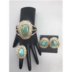 Turquoise Bracelet Ring and Earring Set