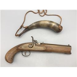 Black Powder Reproduction Pistol and Horn