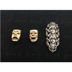 Art Nouveau Sterling Silver Ring and Pr. Cuff Links