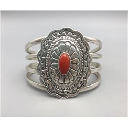 Sterling Silver and Coral Bracelet