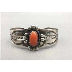 Vintage Sterling Silver and Coral Bracelet