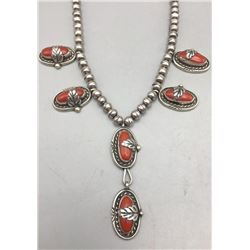 Nice Coral and Sterling Silver Necklace