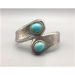 Unique 2 Turquoise Stone Cast Bracelet
