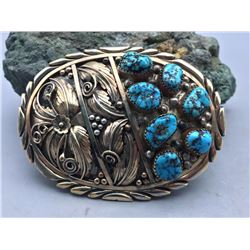 7 Stone Turquoise and Gold Belt Buckle