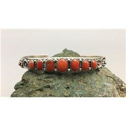 7 Stone Coral and Sterling Silver Bracelet