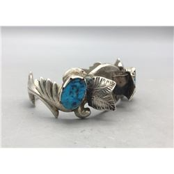 Sand Cast and Possible Bisbee Turquoise Watch Cuff