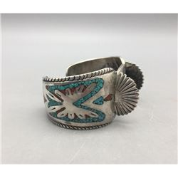 Vintage Turquoise and Coral Chip Inlay Watch Bracelet