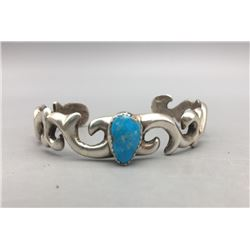 Turquoise and Sand Cast Sterling Silver Bracelet