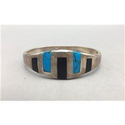 Onyx and Turquoise Inlay Bangle Bracelet