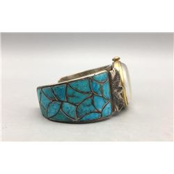 Turquoise Fish Scale Inlay Watch Cuff