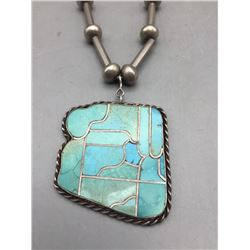 Unique State of Arizona Turquoise Inlay Necklace