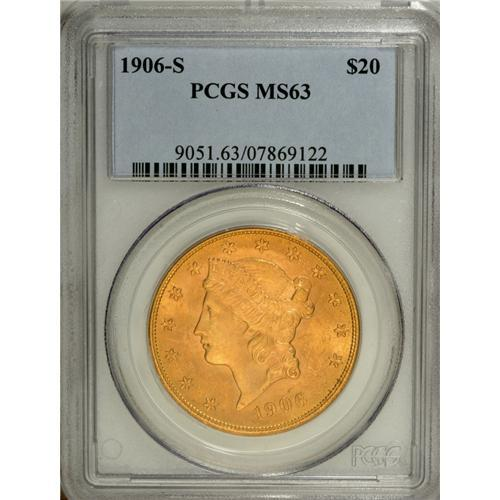 1906-S $20 MS63 PCGS  A lustrous honey-gold example wi